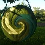 Trommeltasche mit Spiralen in diversen Grün, mit Quilting (25)
