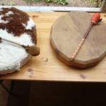 Rahmentrommeln, Materialein aus Kalb und Rothirsch